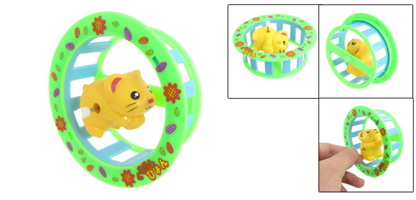 Yellow Clockwork Spring Tumbling Somersault Cartoon Mice Funny Toy