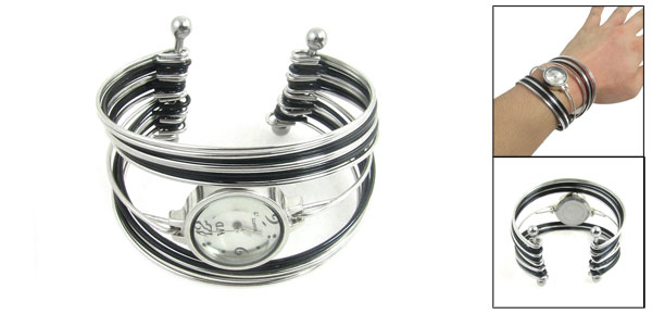 Women Silver Tone Black Multi Layers Bracelet Bangle Round Dial Watch
