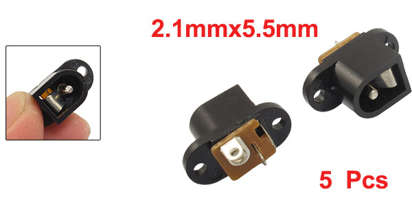 5 Pcs 2.1x5.5mm Female DC Power Jack Socket Black