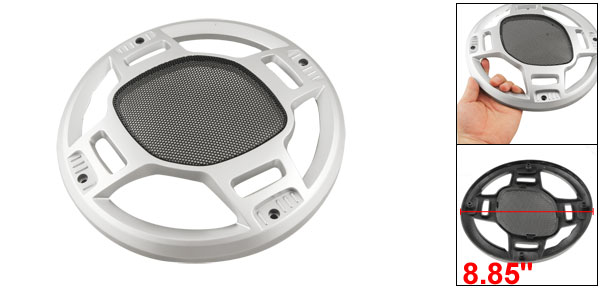 22.5cm Silver Tone Circle Shaped Subwoofer Grill Speaker Cover