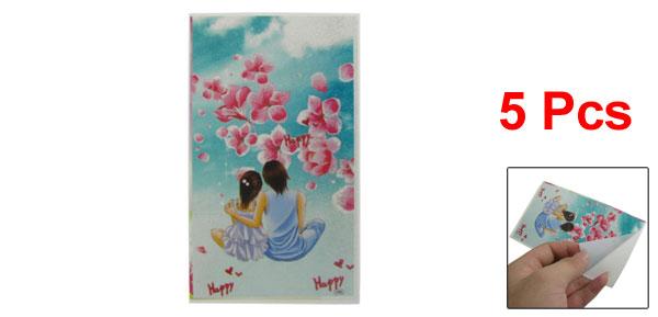 5 Pcs Romantic Lovers Flowers Pattern Glittery Phone Stickers