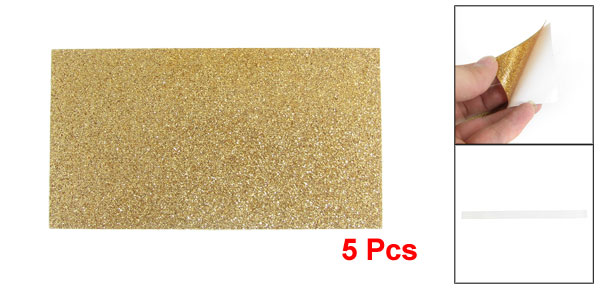 5 Pcs Glittery Gold Tone Plastic Stickers for Cell Phone