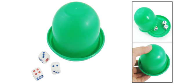 KTV Plastic 3 Dices Casual Green Dice Shaker Cup Toy