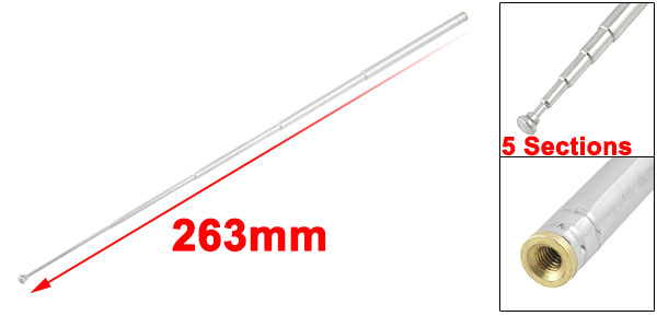 Stainless Steel Multi Purpose FM Radio TV Telescopic Antenna Aerial 10.3