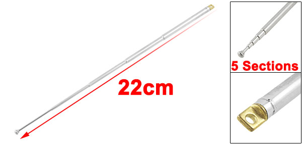 Replacement 22cm 5 Sections Telescopic Antenna Aerial for Radio TV