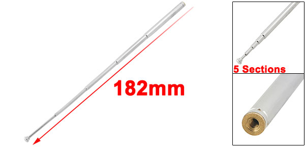 182mm Long 5 Sections Telescopic Antenna Remote Aerial for FM Radio TV