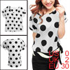 Ladies Scoop Neck Dolman Sleeves Dots Prints Blouse Beige XS
