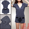 Woman Dark Blue White Horizontal Stripes Shirt w Drawstring Waist...