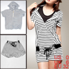 Ladies Short Sleeve Black White Stripes Hooded Shirt w Drawstring...