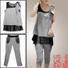 Woman Sleeveless Mesh Lining Black Light Gray Shirt w Capri Pants...