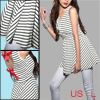 Girl Black White Horizontal Bar Stripes Scoop Neck Tank Dress US ...