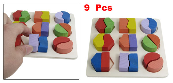 9 Pcs Colorful Wooden Geometric Shape Board Toy for Childen Learning