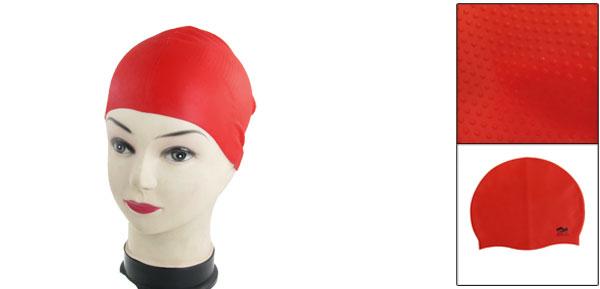 Interior Anti Slip Silicone Swimming Cap for Adult Red