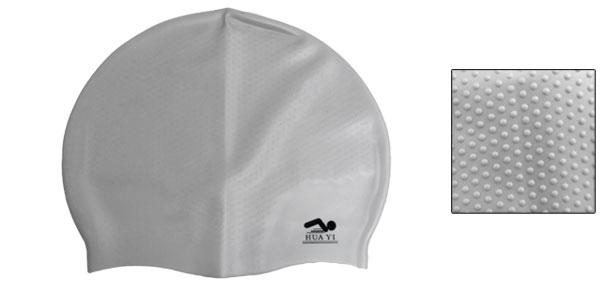 Gray Interior Anti Slip Silicone Swimming Swim Cap for Adults