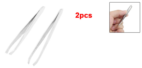 2 Pcs Stainless Steel Slanted Tip Eyebrow Tweezer Hair Removal Tool