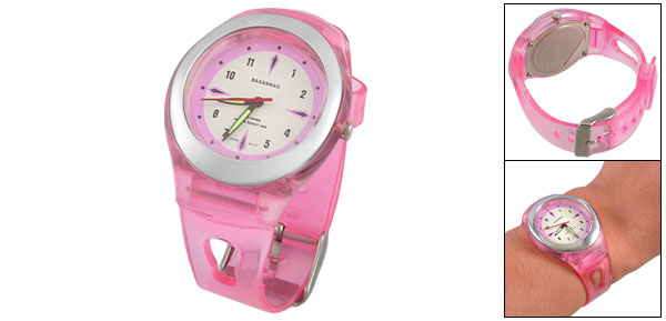 Arabic Number Display Pink Plastic Watchband Sports Wrist Watch for Children