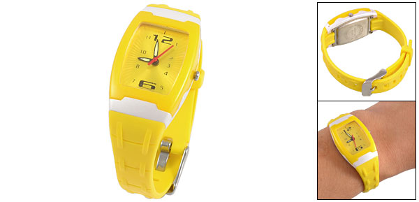 Arabic Number Dial Plastic Yellow Watchband Sports Wrist Watch for Children