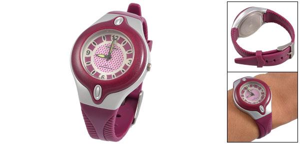 Round Dial Fuchsia Plastic Watchband Sports Wrist Watch for Children