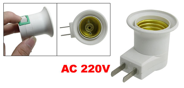 AC 220V On/Off Switch E27 Lamp Holder to 2 Pin AU Wall Plug