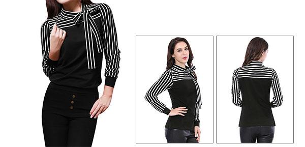 Allegra K Ladies Self Tie Bow Stand Collar Stripes Shirt Black S