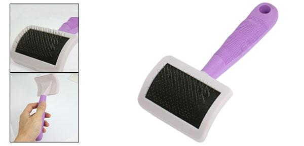 Cat Dog Pet Plastic Handle Metal Wire Hair Cleaning Grooming Brush Tool Purple