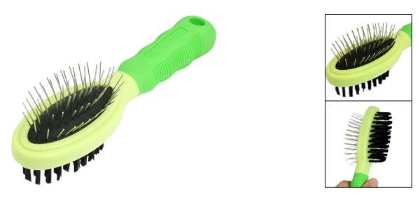 Green Nonslip Grip Dog Pet Grooming Shedding Brush Comb