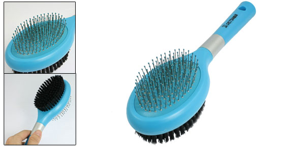 Cat Dog Pet Hair Fur Plastic Handle Massage Cleaning Grooming Brush Blue