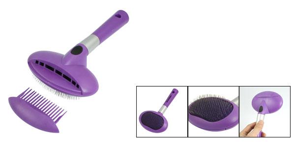 Purple Oval Head Cat Dog Pet Grooming Bath Brush w Comb