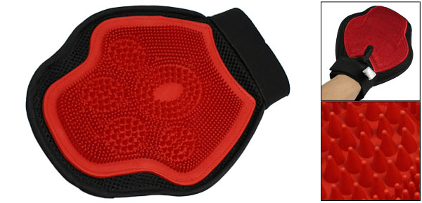 Red Black Bath Shower Grooming Glove for Pet Dog Puppy