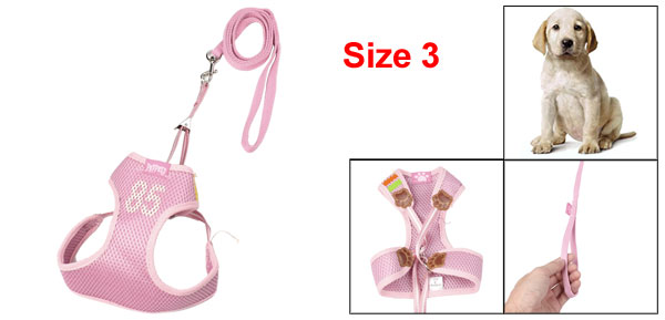 No Pull Adjustable Pet Dog Walking Durable Harness Leash Collar Pink Size 3