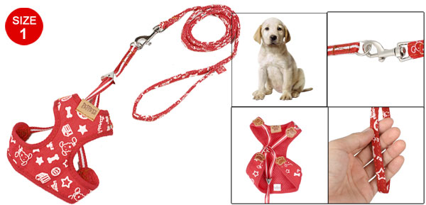 Red White Star Bone Prints Pet Dog Harness Leash Size 1
