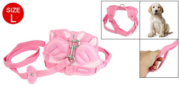 Pink Nylon Angle Wing Decor Pet Dog Harness Leash Size L