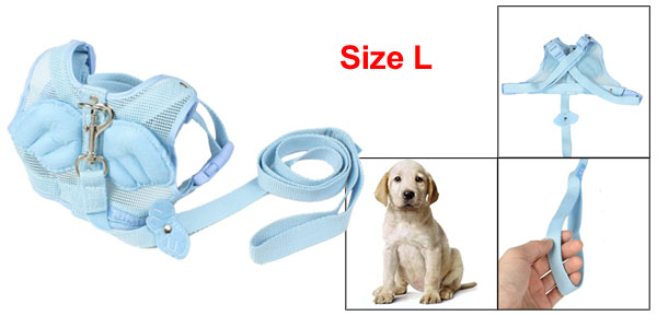 Sky Blue Nylon Angle Wing Decor Pet Dog Harness Leash Size L