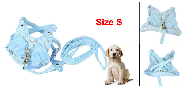 Sky Blue Nylon Angle Wing Decor Pet Dog Harness Leash Size S
