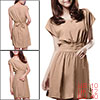 Woman Solid Khaki Scoop Neck Dolman Sleeve Banded Dress M