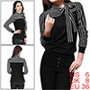 Allegra K Ladies Self Tie Bow Stand Collar Stripes Shirt Black S
