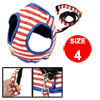 Red White Stripe Pattern Pet Dog Puppy Harness Leash Size 4