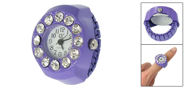 Women Rhinestone Inlaid Round Face Purple Stretch Band Finger Ring Watch