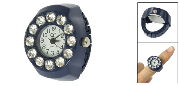 US 3 1/2 Stretch Band Round Face Mini Finger Ring Watch Dark Blue for Ladies