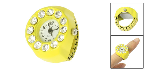 Women Round Face Arabic Numeral Dial Rhinestone Accent Yellow Finger Ring Watch