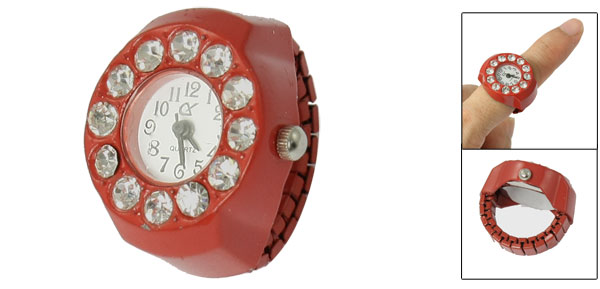 Stretch Band Rhinestone Inlaid Round Face Finger Ring Watch Red for Ladies