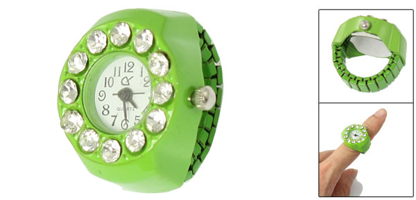 Women Arabic Numeral Dial Rhinestone Accent Round Finger Ring Watch Green
