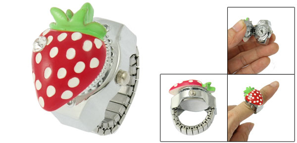 Rhinestone Decor Red Strawberry Hunter Case Finger Ring Watch for Ladies
