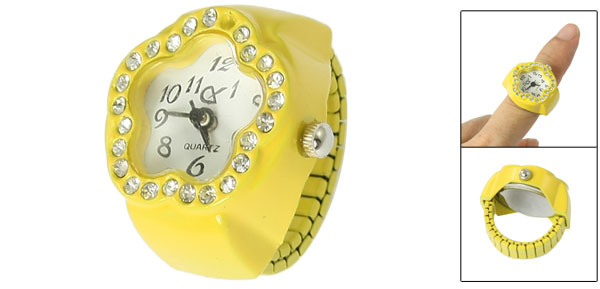 Ladies Rhinestone Inlaid Flower Face Finger Ring Watch Yellow US 4 1/2