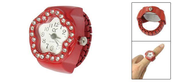 Women Rhinestone Detail Stretch Band Flower Case Finger Ring Watch Red