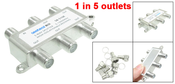 Silver Tone 5 Way Cable TV CATV Directional Signal Splitter Combiner
