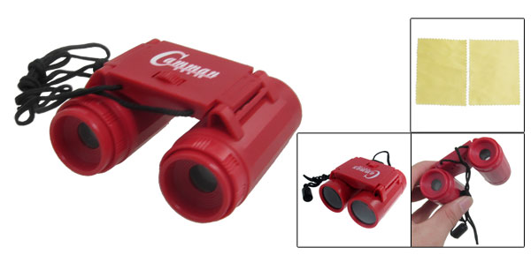 Children Mini Red Plastic Binoculars Telescope w Neck Strap