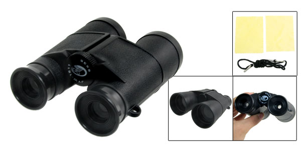 Kids Foldup 6 x 35mm Binoculars Telescope Toy Black w Cleaning Cloth