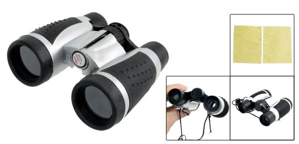 Black Silver Tone Plastic 6 x 30mm Foldup Binoculars w Neck Strap