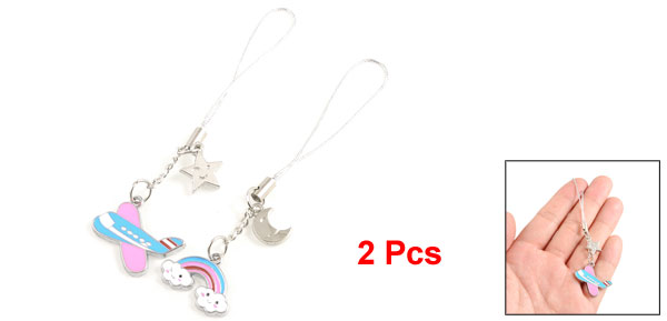 Airplane Rainbow Shaped Pendant Mobile Cell Phone Strap Pair for Lovers